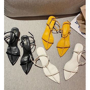 New fashion pointed toe hollow flat sandals fashion all-match one word buckle women's shoes