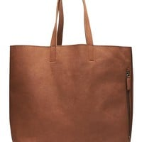 Banana Republic Leather Side Zip Tote Size One Size - Cognac