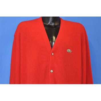 80s Izod Lacoste Red Button Up Cardigan Sweater Extra Large