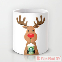 Personalized mug cup designed PinkMugNY - I love Starbucks - Rudolf