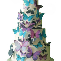 Wedding Cake Topper - THE EMMA 30 Edible Butterflies  -  Cake Decorations, Edible Decorations for Cucpakes