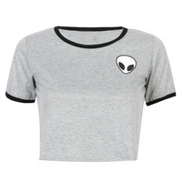 Grey Alien Print Cropped Ringer T-shirt