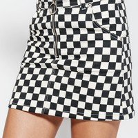 CHECKERED DENIM SKIRT