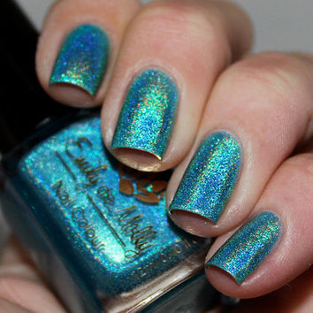 """Nail polish - """"Cool, calm & collected"""" light blue linear holographic"""