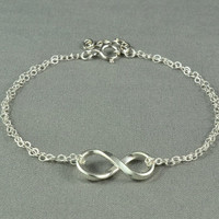 Forever LOVE, INFINITY Bracelet, Fine Silver Charm, Sterling Silver Double Chain, Pretty, Simple, Beautiful Bracelet