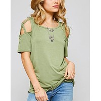 Sage Criss Cross Shoulder Top