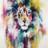 Framed 5 Panels Modern Animal Lion king Oil painting on canvas wall decoration Home wall art picture painting on canvas