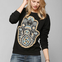 Truly Madly Deeply Hamsa Hand Pullover Sweatshirt  - Urban Outfitters
