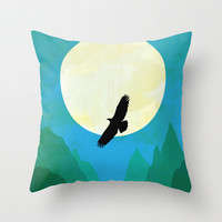 Minimalist hawk Throw Pillow by Tony Vazquez