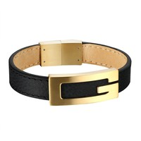 Gold Tone G Buckle Bracelet Unique Mens Black Leather Band Stainless Steel 17mm