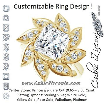 Cubic Zirconia Engagement Ring- The Xiùying (Customizable Princess/Square Cut Design with Artisan Floral Halo)