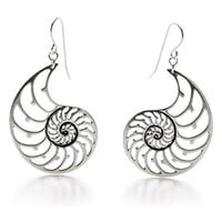 Jewelry Handcrafted in USA - Silver Finish Nautilus Shell Dangle Drop Earrings, 2""