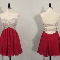 Red Homecoming dress,Short prom Dress,Backless Prom Dresses,Party dress for girls,cocktail dress,BD305