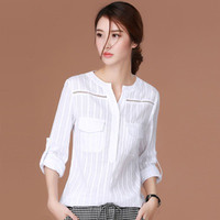 Shintimes White Long Sleeve Buttoned Blouse
