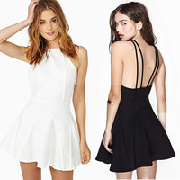 Elegant Women Backless Sleeveless Mini Dress Skater Evening Cocktail Party Dress F_F = 1902356100