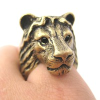 Large Lion Detailed Adjustable Animal Ring in Brass | Animal Jewelry