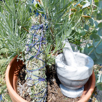 Smudge Stick, Herb Bundle, Organic sage juniper cedar lavender smudge stick, ceremonial smudge stick, cleansing herb bundle, 7 - 9 in
