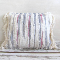 Vintage Shabby Chic fabric throw pillow // Rag Rug woven pillow