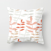 Leaves Throw Pillow by Claire Brown Surface Pattern