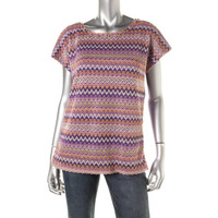 Alfred Dunner Womens Open Stitch Zig Zag Pullover Top