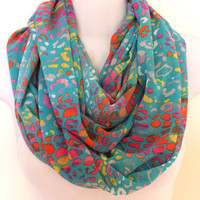 Multicolored Animal Print Infinity Scarf Fashion Scarves Spring Circle Scarf Patterned Scarf Eternity Loop Womens Scarves Printed Scarf