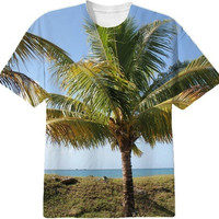 Tropical Caribbean Palm Tree on Tobago Tee Shirt created by stine1 | Print All Over Me
