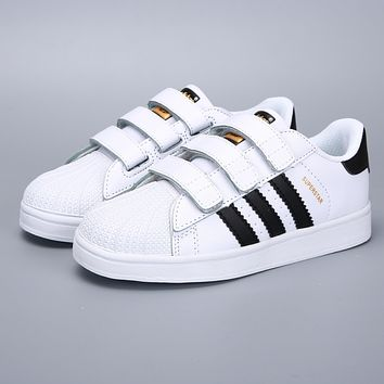 Adidas Original Superstar White Black Velcro Toddler Kid Shoes-1