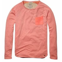 Crew neck sweater with chest pocket