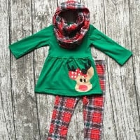 Plaid Reindeer Scarf Outfit