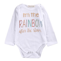 Newborn Infant Baby Boy Girl Clothing Tops Cotton Jumpsuit Bodysuit Long Sleeve Letter Kids Clothes Outfit
