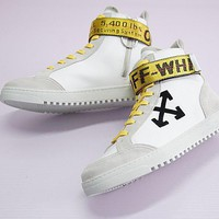 Off White Arrows High Top Sneakers White High Skateboarding Shoe | Best Deal Online
