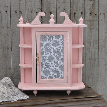 wall cabinet shabby chic kitchen curio spice rack bathroom pink