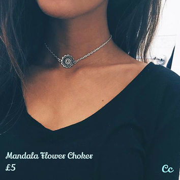 Mandala Flower Choker Necklace