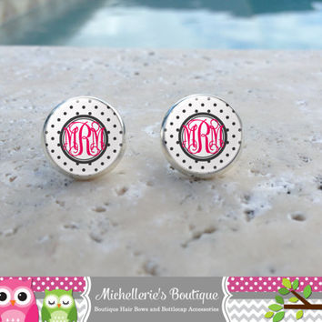 Black Polka Dot Monogram Earrings, Monogram Jewelry, Monogram Accessories, Monogram Studs, Monogram Leverbacks, Monogrammed Gifts under 10