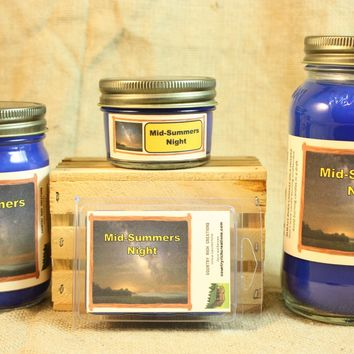 Mid Summers Night Candle and Wax Melts, Male Fragrance Scent Candle, Scented Candles and Wax Tarts, Gift for Him, Masculine Scent Candle