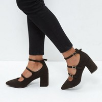 Wide Fit Black Suedette Triple Strap Pointed Block Heels