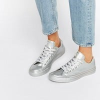 Converse All Star Silver Metallic Rubber Trainers at asos.com