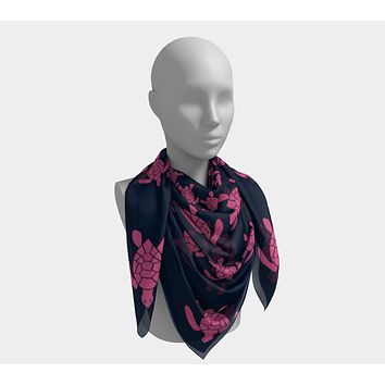 Turtle Square Scarf - Pink on Navy