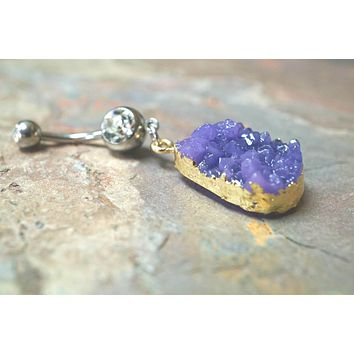 Druzy Belly Button Ring Purple Belly Button Rings