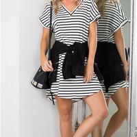 White and Black Striped V-Neck Short Sleeve Dress