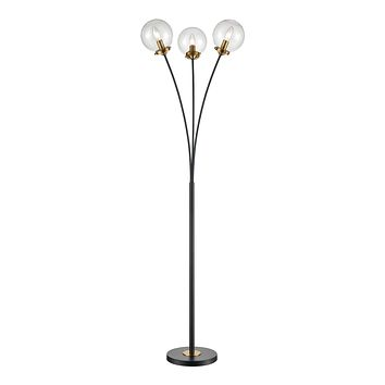 Boudreaux 3-Light Floor Lamp in Burnished Brass and Matte Black with Mouth-blown Clear Glass Orbs