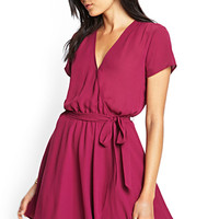 FOREVER 21 Crepe Woven Wrap Dress Berry