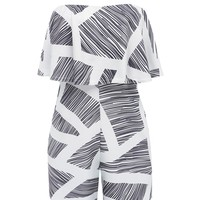 Casual Black White Strapless Flounce Printed Straight Romper
