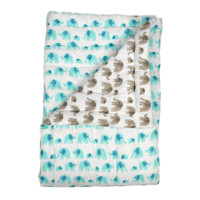 Grey turquoise elephant baby cot quilt