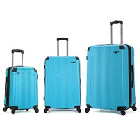 F190-TURQUOISE 3 Pc Sonic Abs Upright Luggage Set