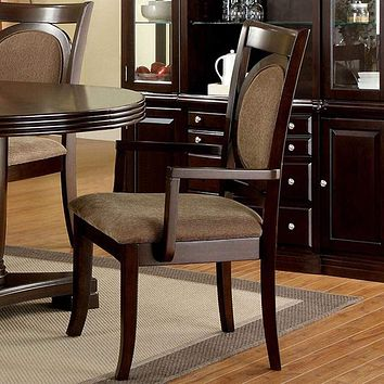 Evelyn Contemporary Arm Chair - Walnut, Set of 2 By Casagear Home