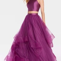 Alyce 60210 Solid Color Halter Two Piece Dress- Aubergine