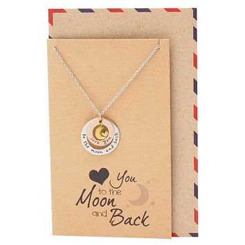 Julie Heart And Moon Engraved Necklace, Gifts For Women, Birthday Gifts Comes with Sweet Quote
