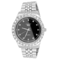 Silver Finish Men's Solitaire Accented Black Face Link Watch