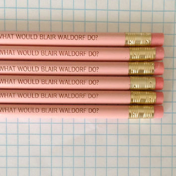 what would blair waldorf do 6 pencils in pastel pink